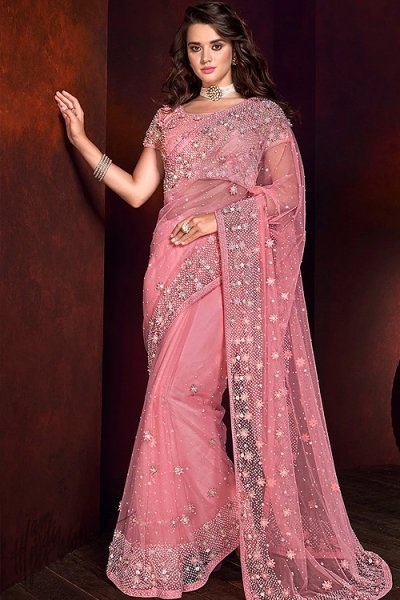 Pastel Pink Pearl Work Saree in Net