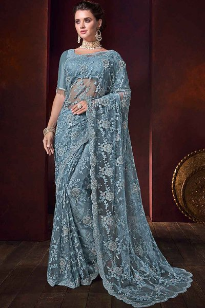 Steel Blue Pearl Work Saree in Net