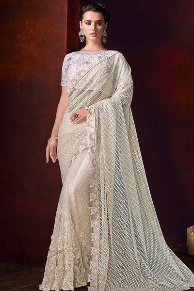 Off-White Pearl Work Saree in Net