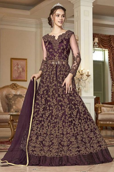 Wine Sequin Work Anarkali with Lehenga/Pant