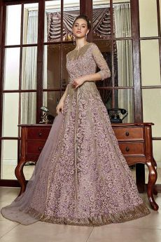 Lilac Sequin Work Anarkali with Lehenga/Pant