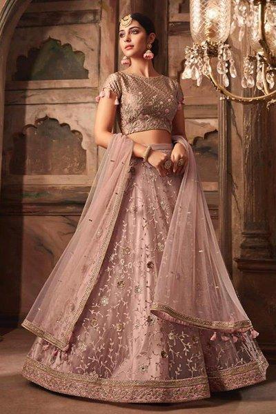 Dusky Pink Embroidered Lehenga Choli Set in Net