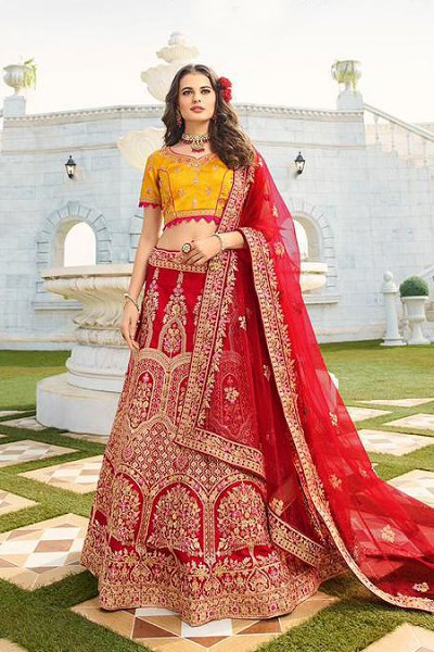 Mustard and Maroon Silk Zari Embroidered Lehenga Choli Set