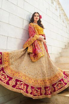 Mustard and Beige Silk Zari Embroidered Lehenga Choli Set