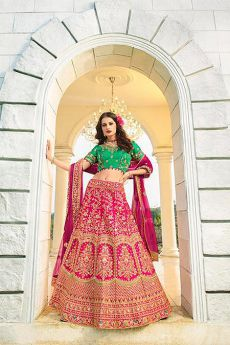 Fuchsia and Green Silk Zari Embroidered Lehenga Choli Set
