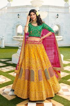 Mustard and Green Silk Zari Embroidered Lehenga Choli Set