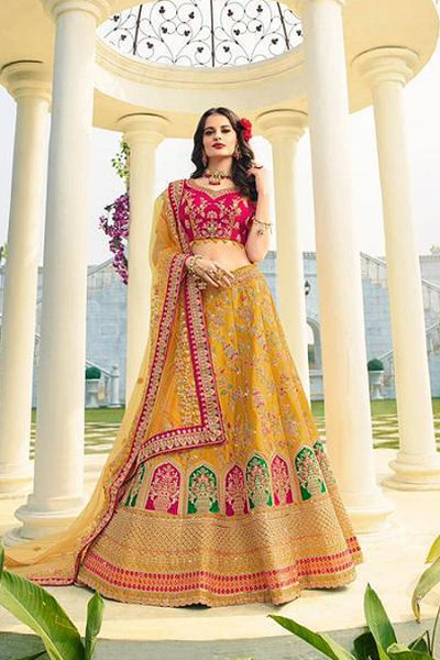 Mustard and Fuchsia Silk Zari Embroidered Lehenga Choli Set