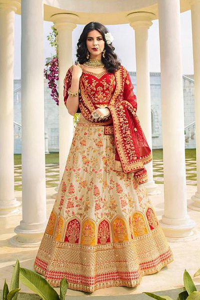 Beige and Red Silk Zari Embroidered Lehenga Choli Set