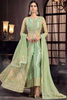 Embellished Pastel Green Anarkali with Pants in Net