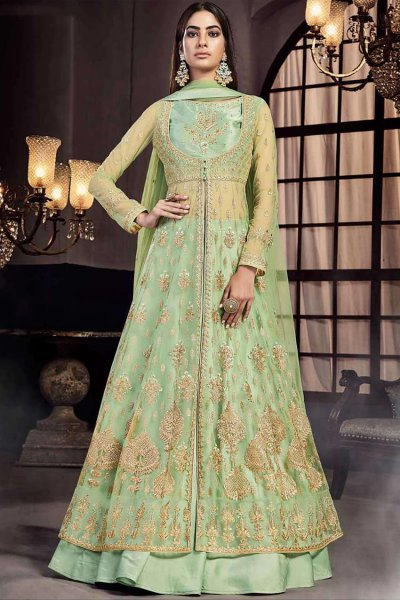 Embellished Pastel Green Jacket Style Lehenga Set