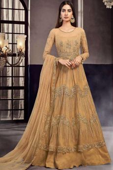 Embellished Beige Anarkali Suit in Net