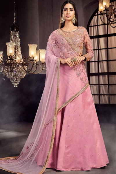 Embellished Blush Pink Lehenga Set