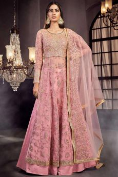 Blush Pink Embroidered Anarkali Suit with Lehenga