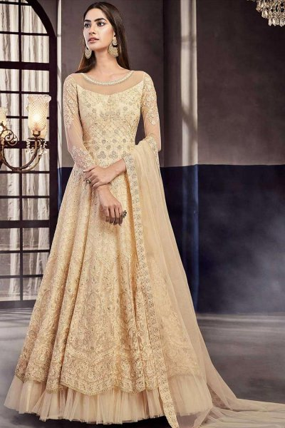 Ecru Embroidered Anarkali Suit