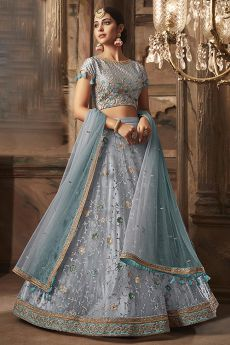 Powder Blue Embroidered Lehenga Choli Set in Net