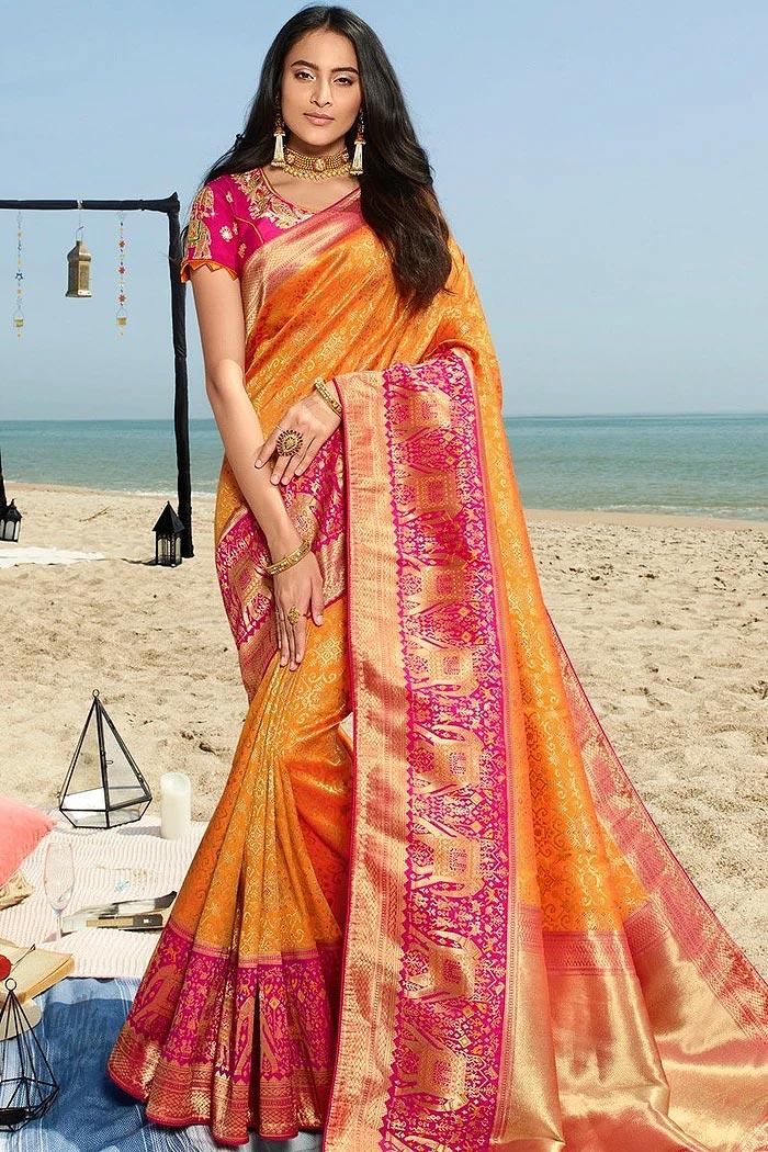 Stunning Banarasi Silk Saree with Zari Embroidered Blouse