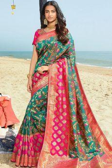 Teal and Hot Pink Banarasi Silk Saree