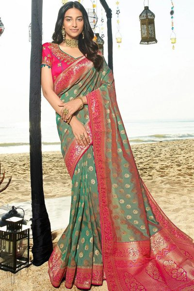 Deep Greyish Green Banarasi Silk Saree