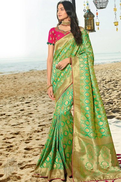 Intricate Green Weaved Banarasi Silk Saree