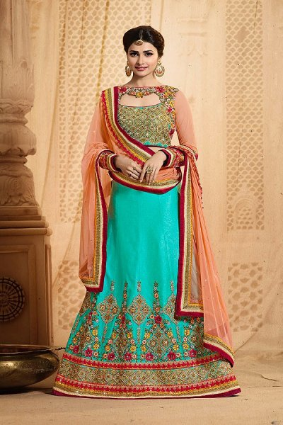 Peach & Turquoise Green  Lehenga Choli with Embroidery in Art Silk