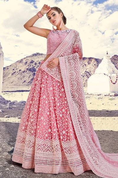 Pastel Pink Embroidered Lehenga Choli Set