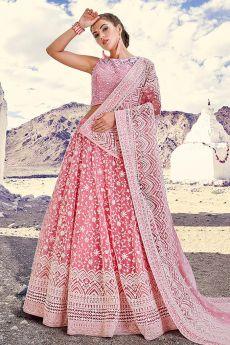 Pastel Pink Embroidered Lehenga Choli Set