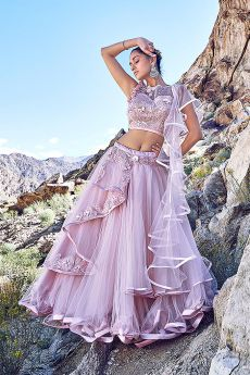Blush Pink Embellished Lehenga Choli Set