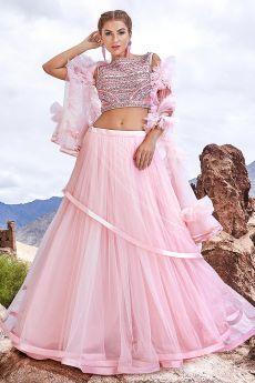 Baby Pink Embellished Lehenga Choli Set