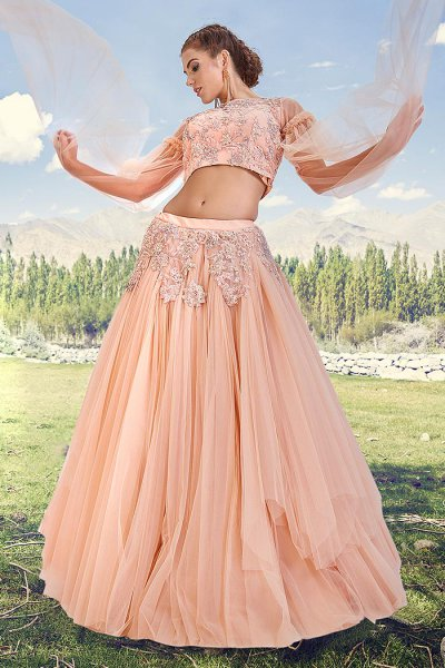 Peach Embellished Lehenga Choli Set