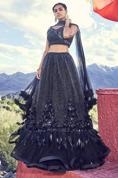 Black Sparkling Lehenga Choli in Net