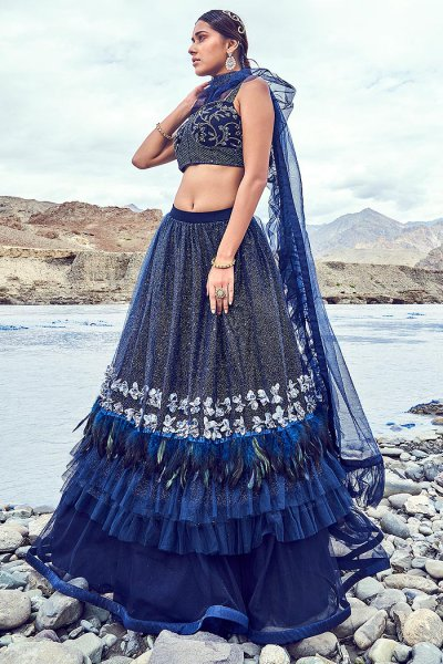 Navy Embellished Lehenga Choli Set