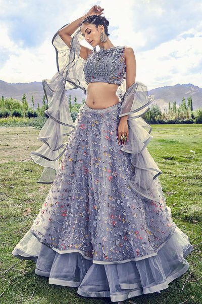 Grey Embellished Lehenga Choli Set