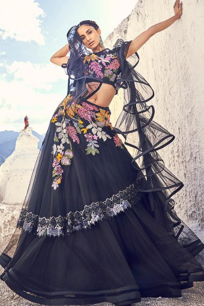 Black Embellished Lehenga Choli Set
