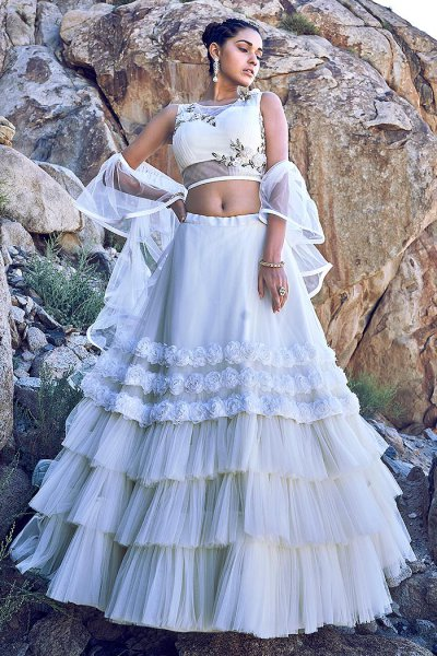 White Zari Work Lehenga Choli Set