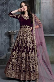 Wine Zari Embroidered Anarkali Suit with Net Dupatta