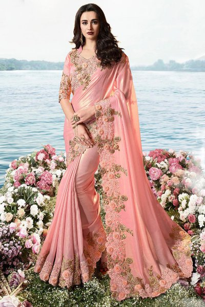 Pastel Pink Embroidered Saree in Art Silk