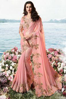 Pastel Pink Embroidered Saree in Art Silk