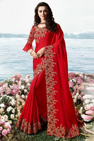 Red Embroidered Saree in Art Silk