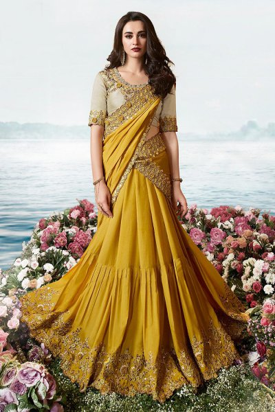 Mustard Embroidered Lehenga Saree in Art Silk