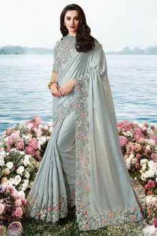 Grey Embroidered Saree in Art Silk
