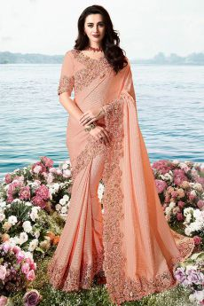 Peach Embroidered Saree in Crepe Silk