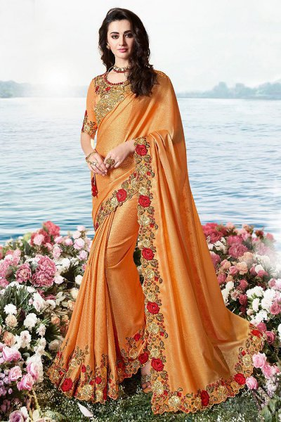 Orange Embroidered Saree in Art Silk