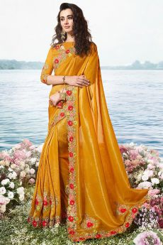 Mustard Embroidered Saree in Art Silk
