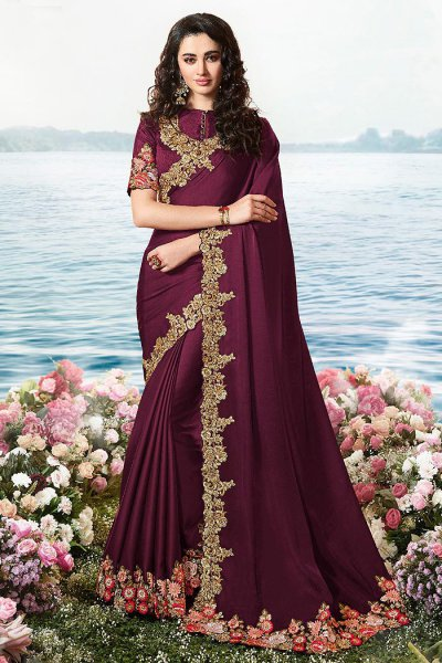 Purple Embroidered Saree in Art Silk