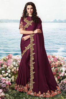 Purple Embroidered Saree in Art Silk