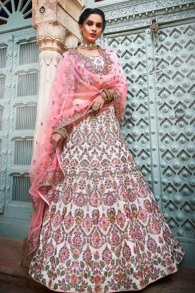 Off White & Pink Embroidered Lehenga in Georgette