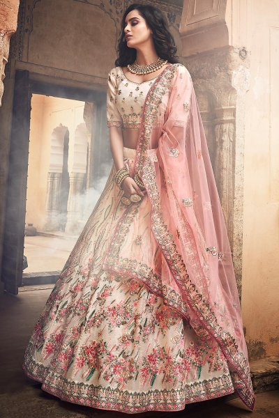 Off White Organza Heavy Embroidered Lehenga