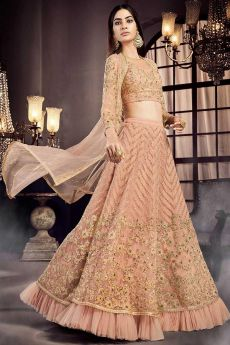 Peach Embroidered Lehenga Choli Set