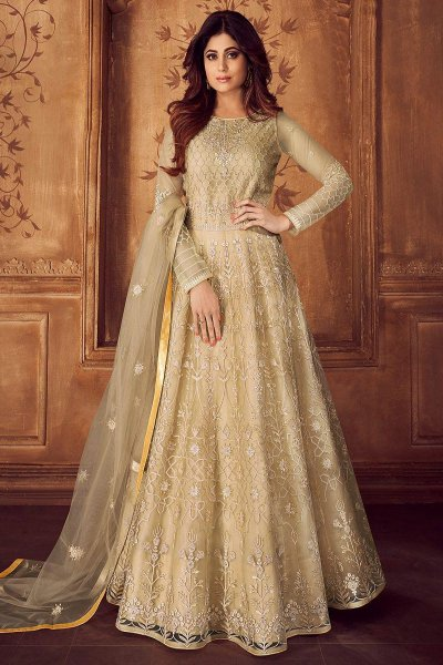 Designer Off White Embroidered Anarkali Set