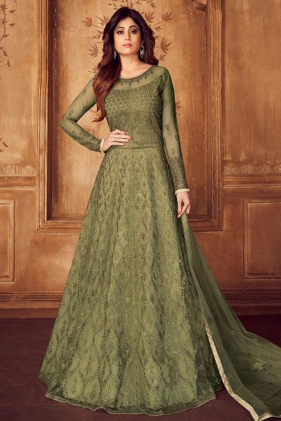 Designer Green Embroidered Anarkali Set